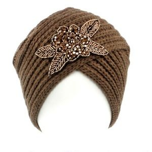 C.C turban beanie with beaded floral design